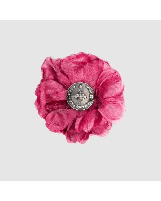 Gucci | Pink Flower Pin In Silk | Lyst