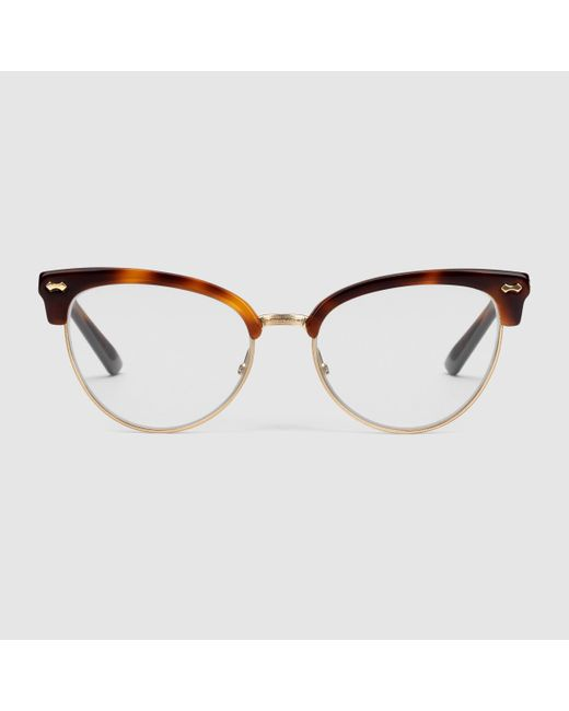 gucci cat eye glasses in brown lyst