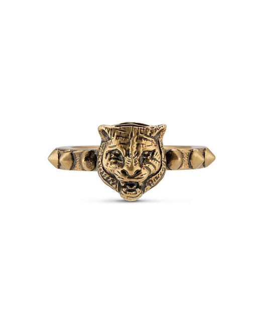 Gucci | Metallic Feline Head Ring | Lyst