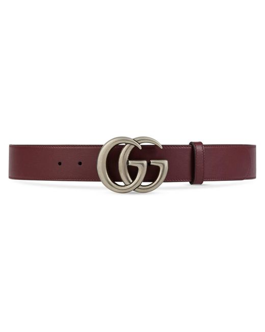 Gucci - Red Leather Belt With Double G Buckle for Men - Lyst