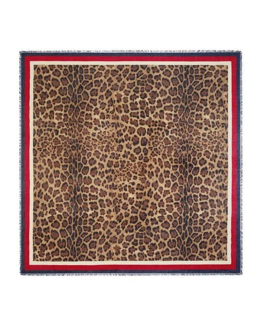 Gucci   Brown Leopard Print Modal Silk Shawl   Lyst