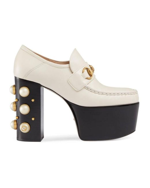 Gucci   White Studded Horsebit Leather Heeled Loafers   Lyst