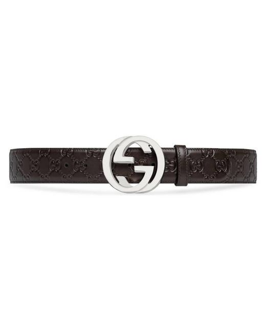 Gucci - Brown Signature Leather Belt for Men - Lyst