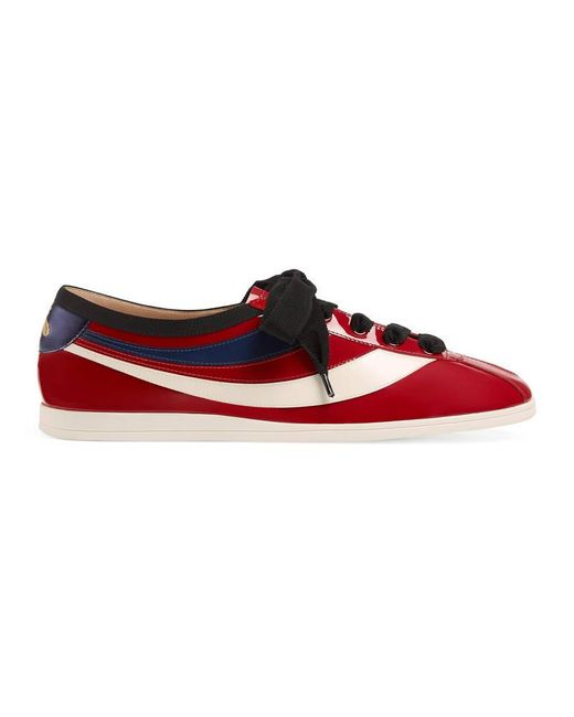 Gucci | Red Falacer Patent Leather Sneaker With Web for Men | Lyst