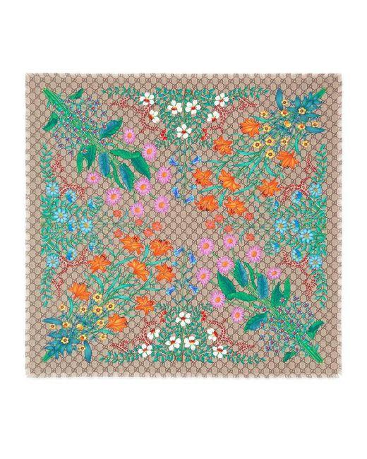 Gucci | Multicolor New Flora Print Gg Silk Scarf | Lyst