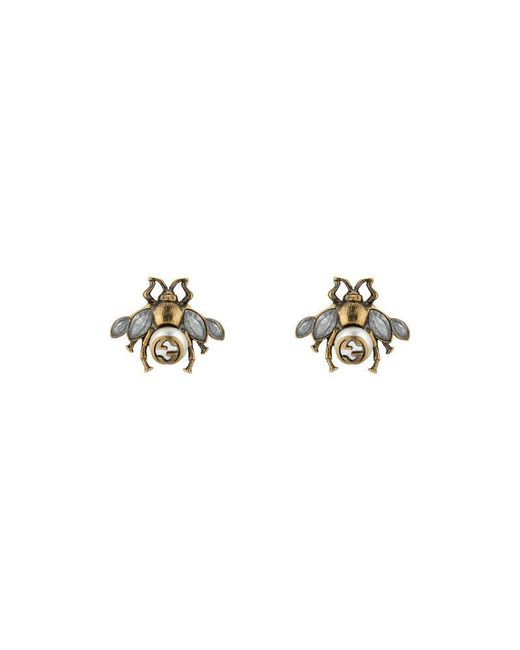 Gucci | Metallic Bee Earrings With Crystals | Lyst