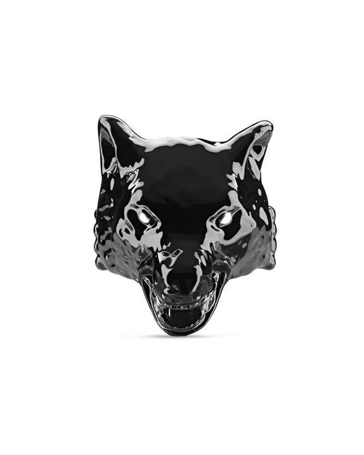Gucci - Black Anger Forest Wolf Head Ring In Enamel - Lyst