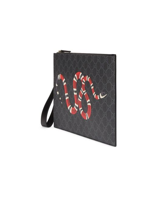 d462744350aab3 ... Gucci - Black GG Pouch With Kingsnake for Men - Lyst ...