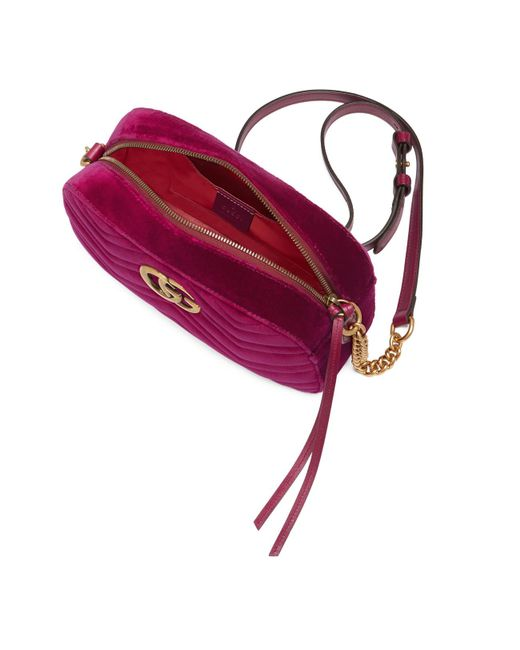 3a46618e7e7467 ... Gucci - Purple GG Marmont Velvet Small Shoulder Bag - Lyst ...