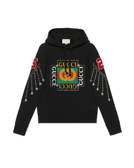 Sudadera con Logo y Cristales Gucci de hombre de color Black