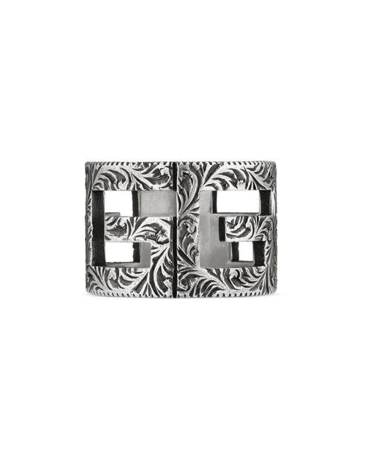Gucci - Metallic Anillo de Plata con Motivo de G Cuadrada for Men - Lyst