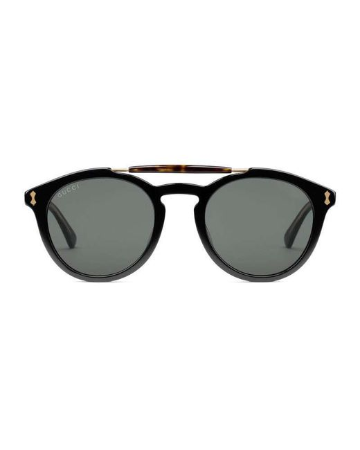 6b11d1ca26c Gucci Round-frame Acetate Sunglasses in Black for Men - Lyst