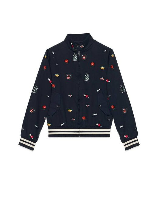 3a6f77f8e Gucci Embroidered Cotton Bomber Jacket in Blue for Men - Lyst