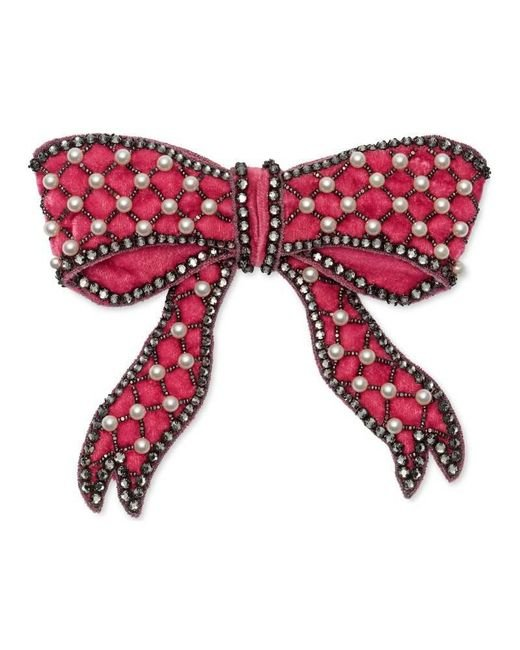 Gucci | Pink Velvet Bow Brooch | Lyst