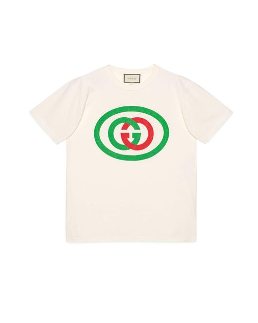 4e1ef90614c0 Gucci - White Oversize T-shirt With Interlocking G for Men - Lyst ...