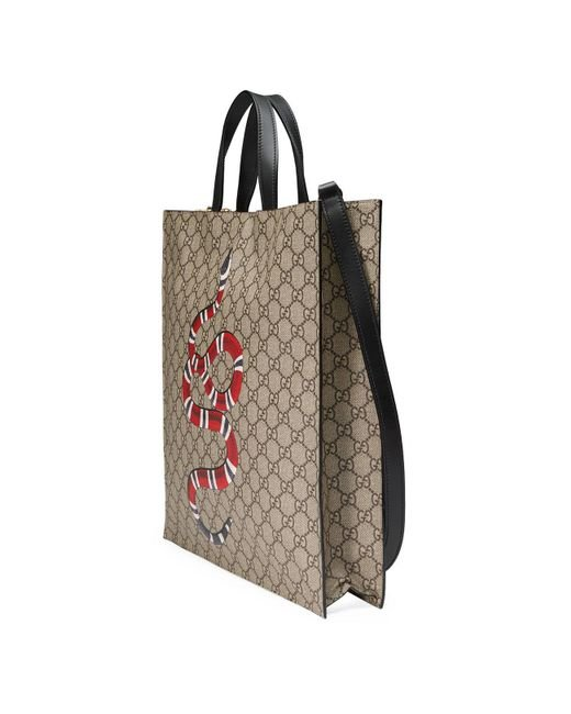 ... Gucci - Natural Kingsnake Print Soft GG Supreme Tote for Men - Lyst ... c76b5bb855