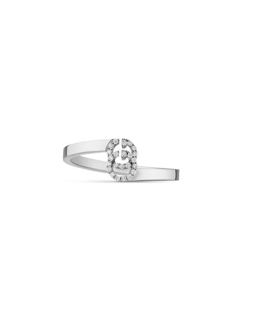 Gucci - Metallic Gg Running Ring In White Gold With Diamonds - Lyst