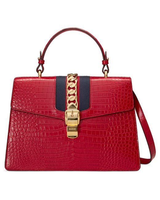 e577321495b Gucci - Multicolor Sylvie Medium Crocodile Top Handle Bag - Lyst ...
