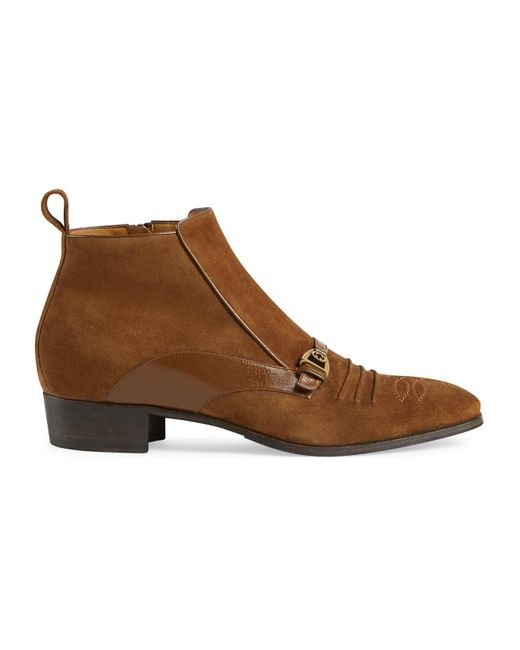 Gucci Brown Buckle Detail Ankle Boots for men