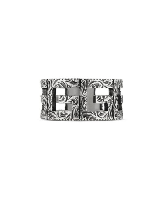 Gucci - Metallic Ring With Square G Motif In Silver - Lyst
