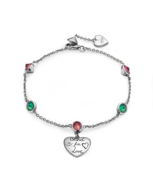 Gucci - Metallic Blind For Love Bracelet In Silver - Lyst