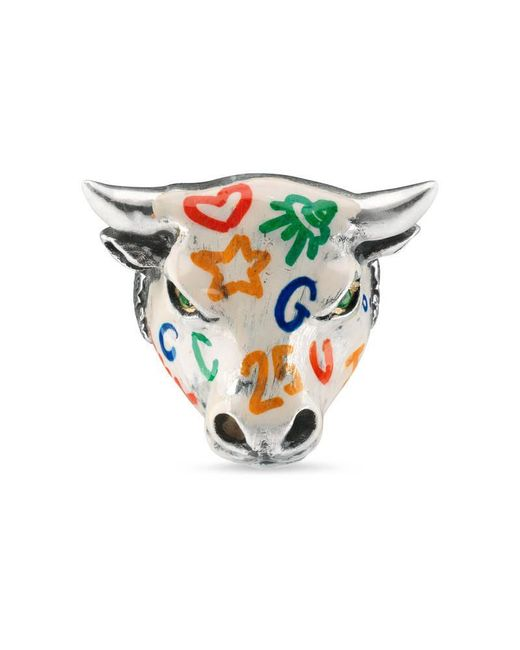 Gucci | Metallic Anger Forest Enameled Bull's Head Ring | Lyst