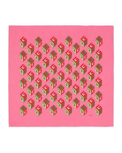 Gucci | Pink Gg Wallpaper Print Silk Scarf | Lyst