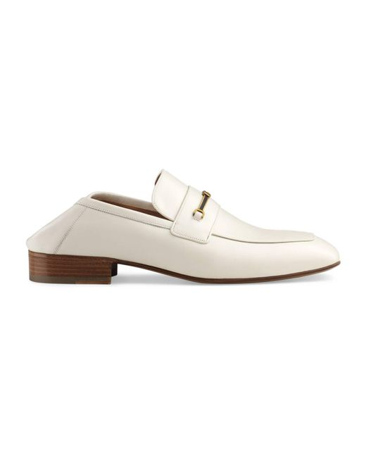 c495c598004 Gucci - White Leather Loafer With Horsebit And Double G for Men - Lyst ...