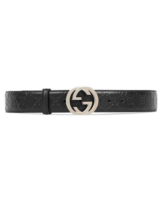 Gucci - Black Signature Leather Belt - Lyst