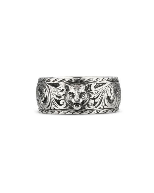 Gucci - Metallic Anillo fino de plata con cabeza felina for Men - Lyst