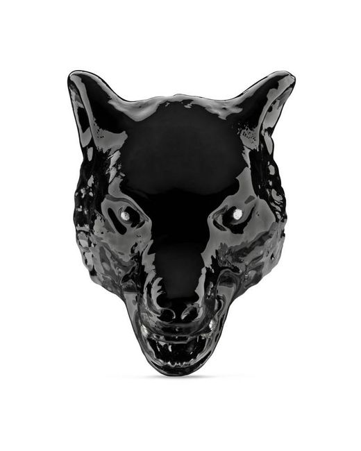 Gucci - Black Anger Forest Wolf Head Ring In Enamel for Men - Lyst