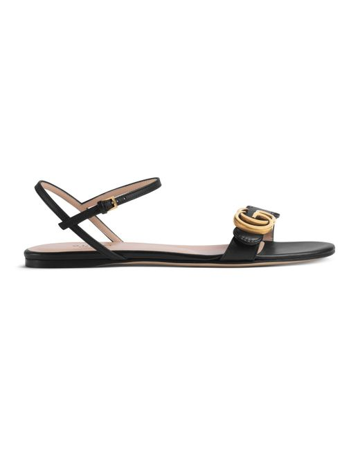 28bc8f02192a Gucci - Black Leather Double G Sandal - Lyst ...