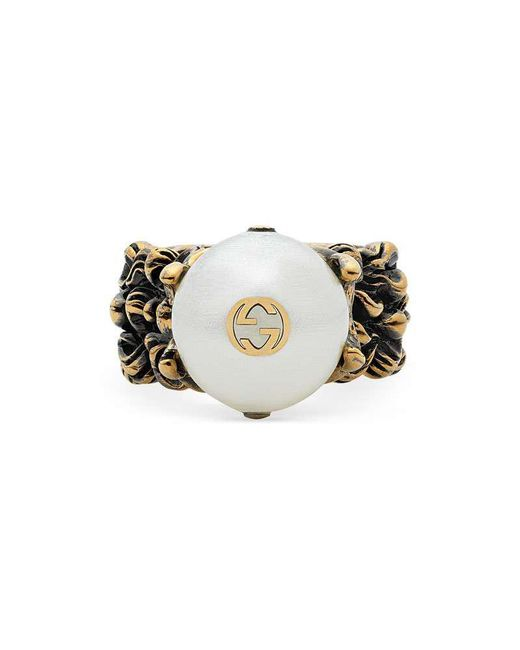 Gucci - Multicolor Textured Ring With Cream Glass Pearl - Lyst