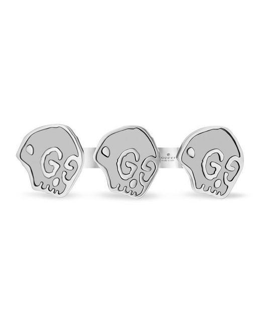 Gucci | Metallic Ghost Double Finger Ring In Silver for Men | Lyst