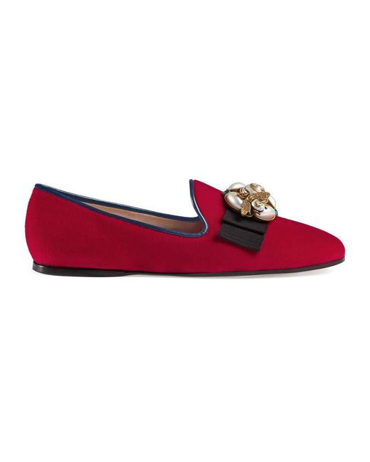 Gucci - Red Velvet Ballet Flat With Bee - Lyst
