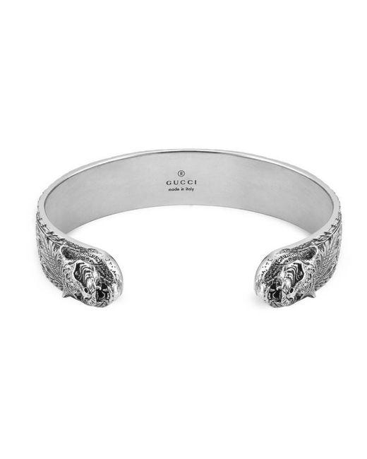 Gucci - Metallic Bracelet In Silver With Feline Head - Lyst