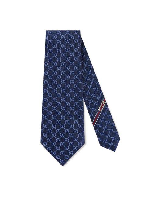 Gucci - Blue Gg Pattern Tie for Men - Lyst