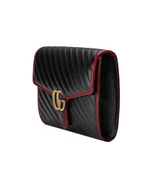9607c504d68150 ... Gucci - Black GG Marmont Clutch - Lyst ...