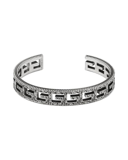 Gucci - Metallic Cuff Bracelet With Square G Motif for Men - Lyst