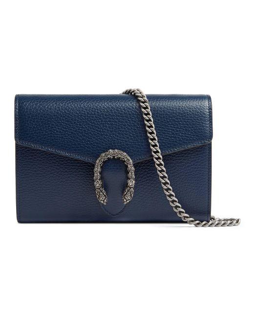 5a17d537845 Gucci - Blue Dionysus Leather Mini Chain Bag - Lyst ...
