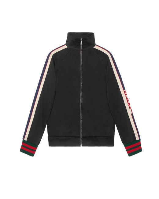 Gucci - Black Technical Jersey Jacket for Men - Lyst