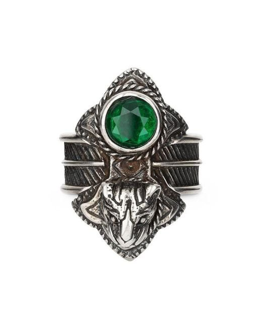 Gucci   Green Feline Head Ring With Crystals   Lyst