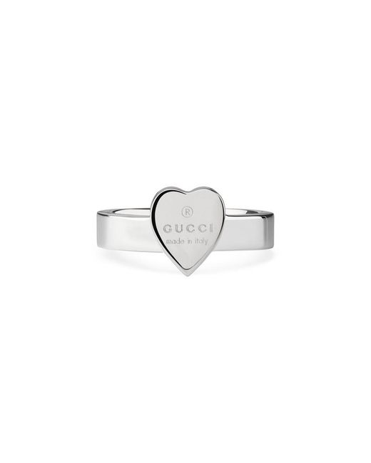 Gucci - Metallic Heart Ring With Trademark - Lyst