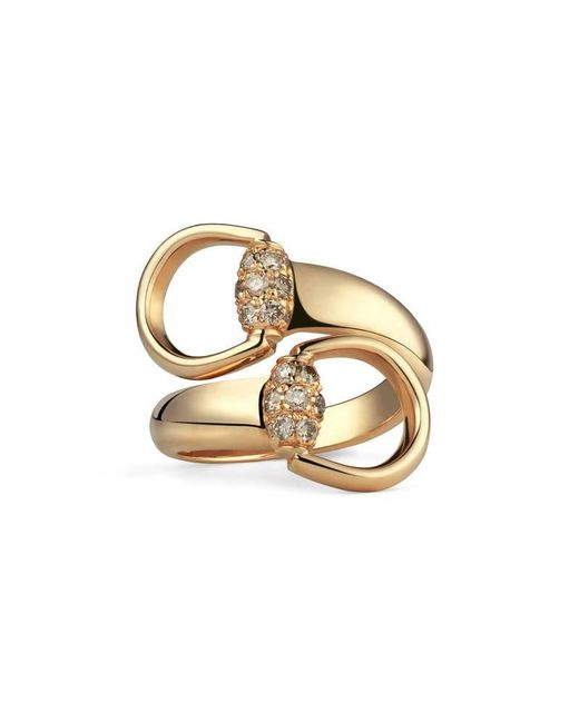 Gucci | Metallic Gold Ring With Brown Diamonds | Lyst