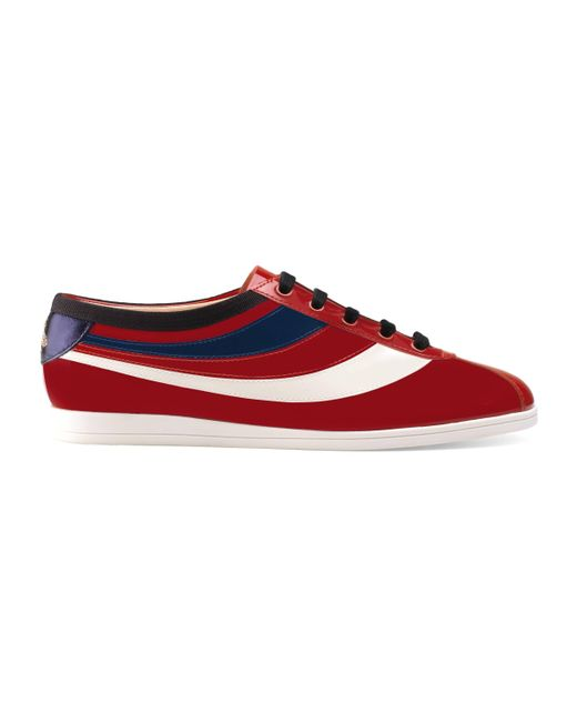 Gucci - Red Falacer Patent Leather Sneaker With Web for Men - Lyst
