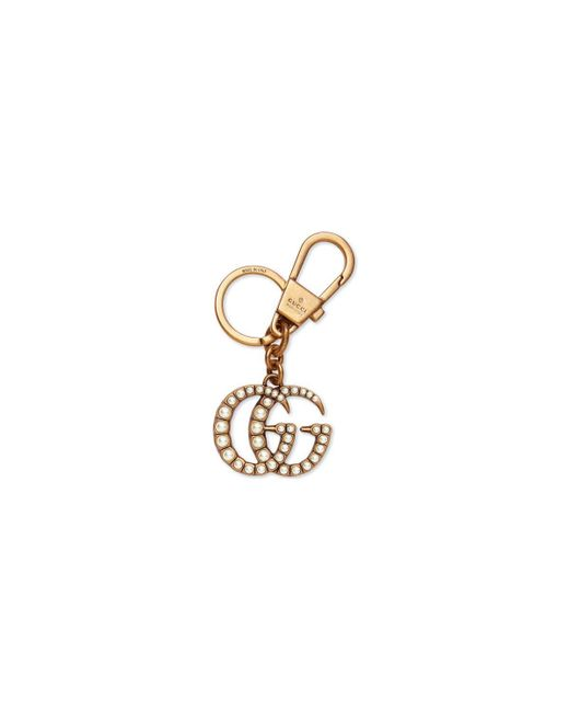 Gucci - Metallic Double G With Pearls Key Ring - Lyst