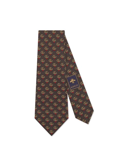 Gucci Multicolor Double G And Hearts Silk Tie for men