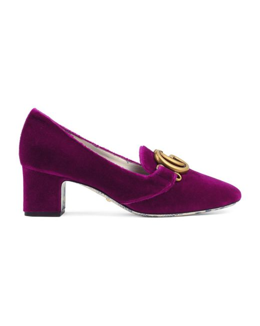 Gucci - Purple Velvet Mid-heel Pump With Double G - Lyst