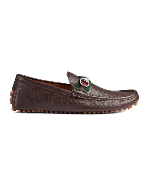 Gucci | Brown Men's Horsebit Leather Driver for Men | Lyst