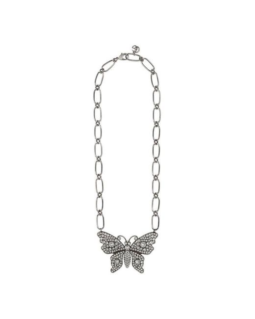 Gucci - Metallic Crystal Studded Butterfly Necklace - Lyst